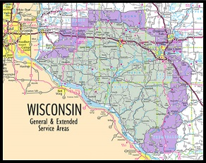 Wisconsin General & Extended Service Area Map