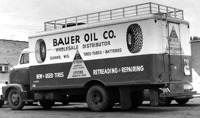Black and white photo of Bauer Oil Co. truck.